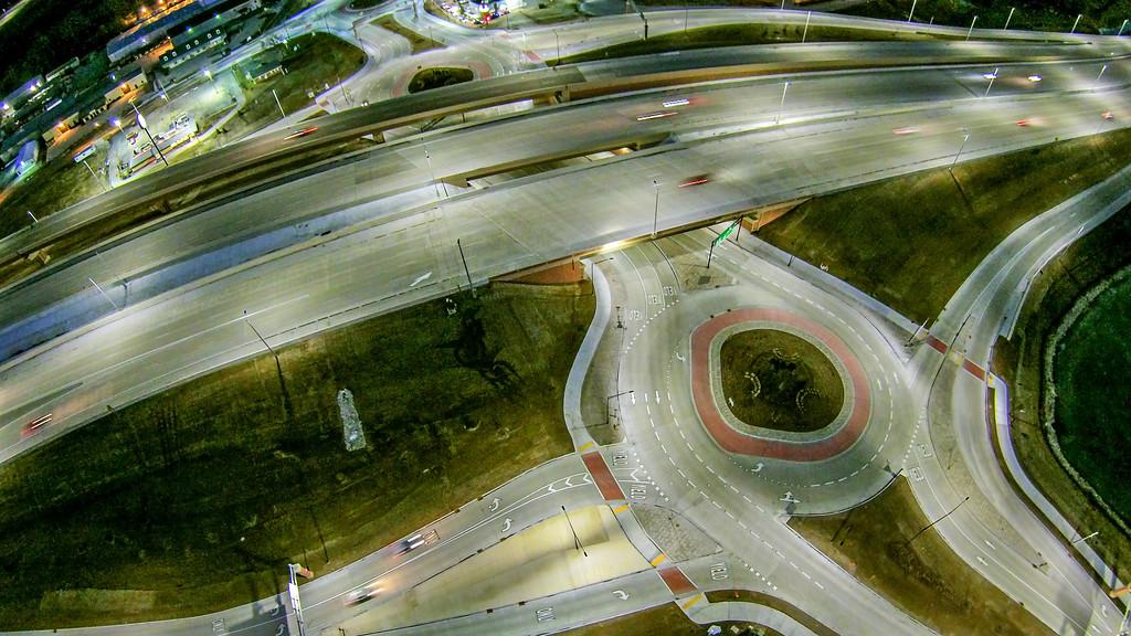 aerial over highway interchange near green bay wisconsin