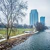 grand rapids michigan city skyline and street scenes