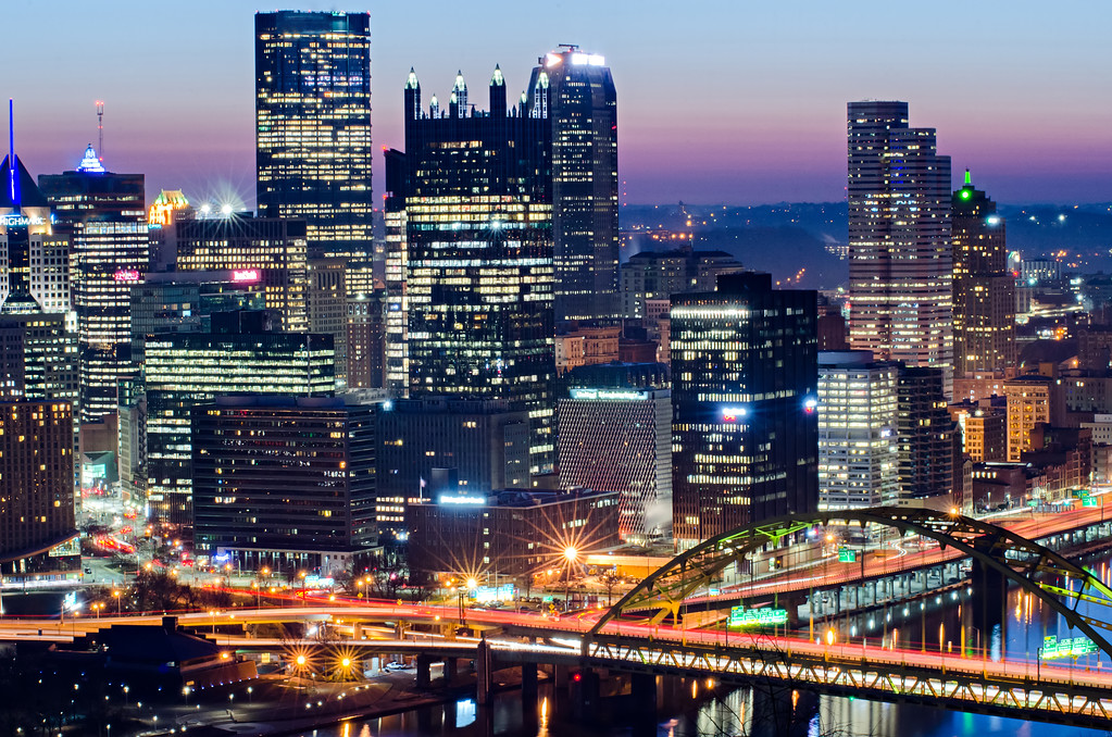 pittsburgh pennsylvania city skyline in the morning before sunrise