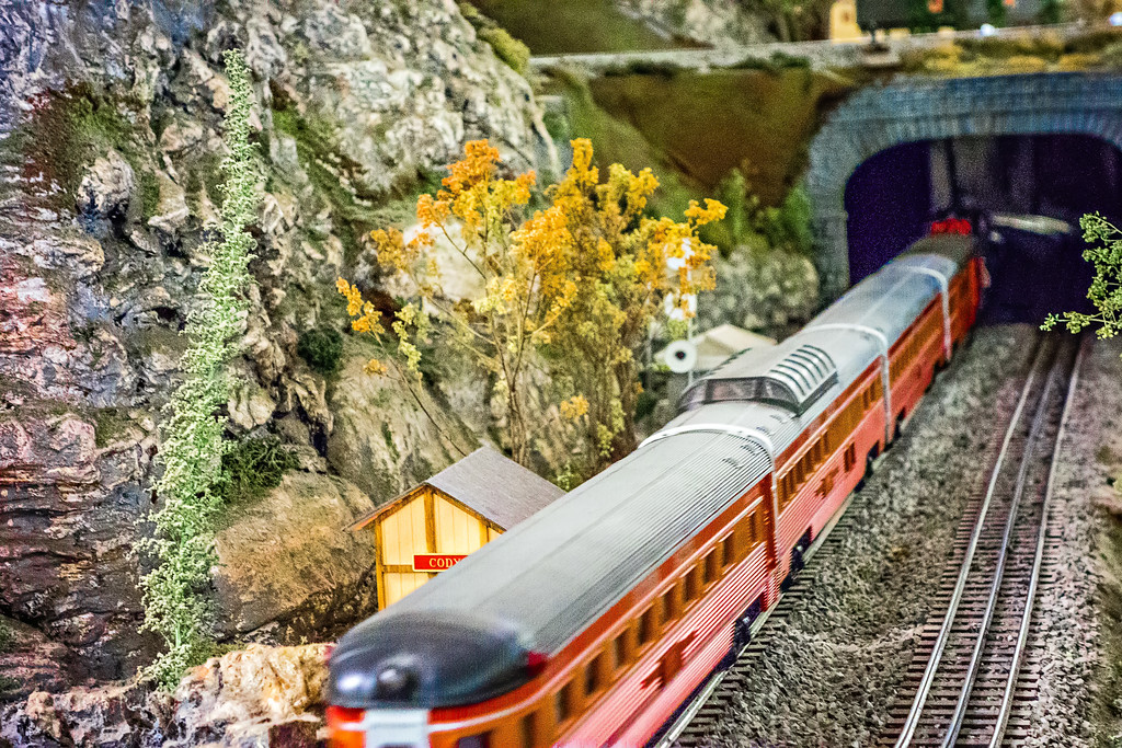 tiny model train station and train in the museum