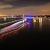 boats light trails on lake wylie after 4th of july fireworks