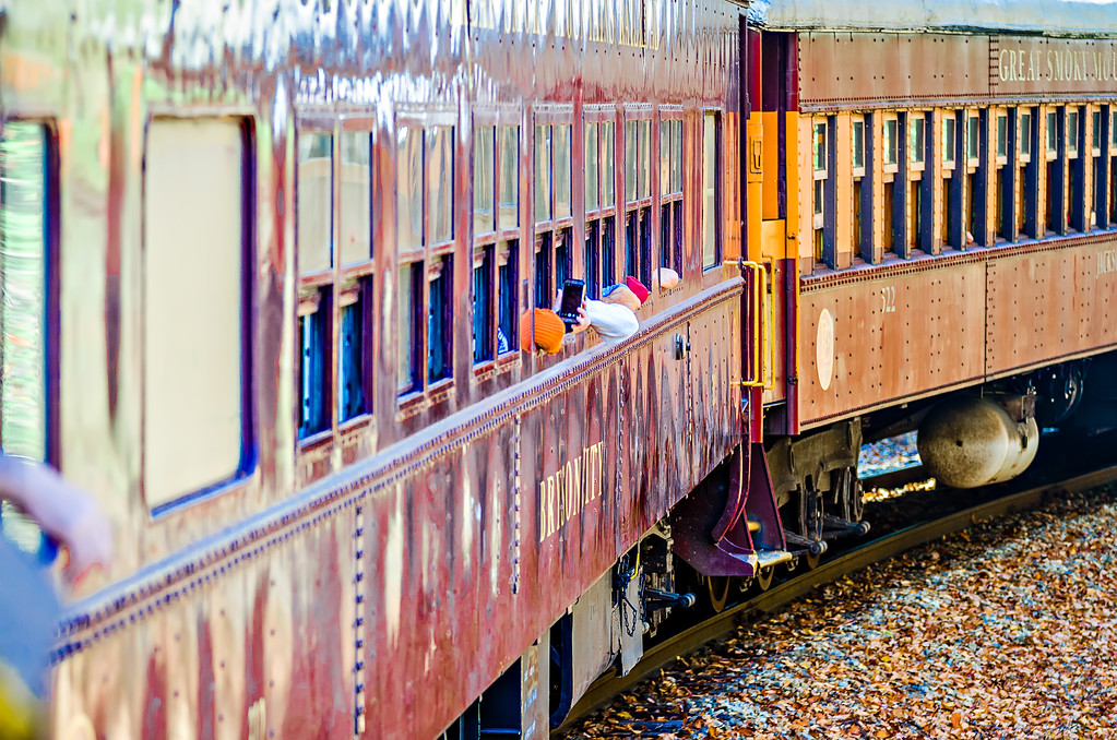 Train passenger car of great smoky mountains railroad