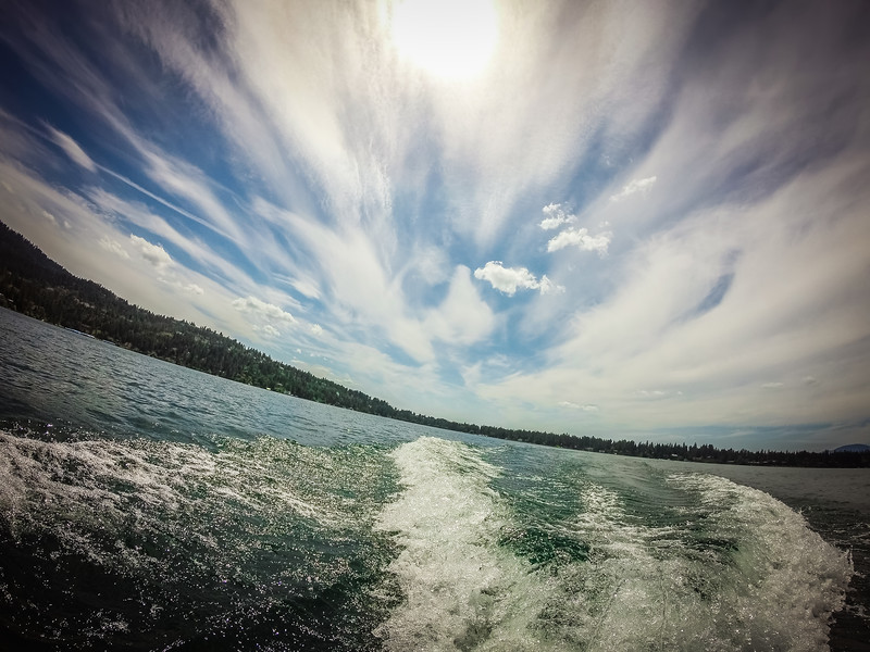 on a jet ski on a lake in the coeur d'alene city lake  idaho