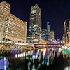 downtown chicago illinois city skyline at night