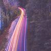 automobile traffic long exposure at dusk in pisgah national park north carolina
