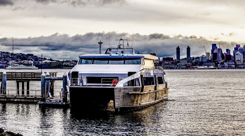 seattle washington skyline with harbor view and ferry