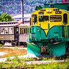SKAGWAY, ALASKA, USA - JUNE 2017 - Alaskan Canadian White Pass train ride attraction through british columbia canadian rocky mountains