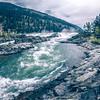 kootenai river water falls in montana mountains