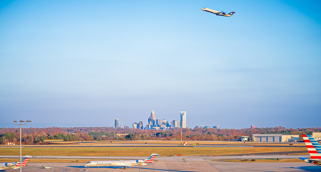 charlotte north carolina airport with city skyline