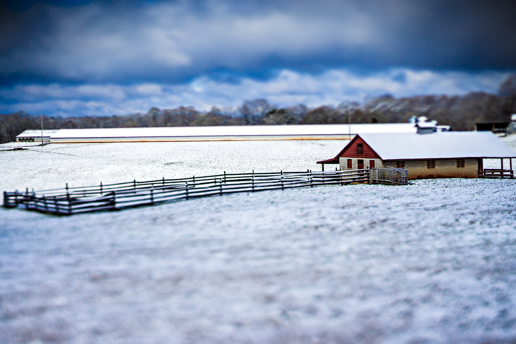winter scenes at farm land in southern country