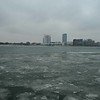 windsor canada city skyline in winter from detroit usa side