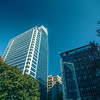 Tall highrise buildings in uptown charlotte near blumenthal performing art center theater