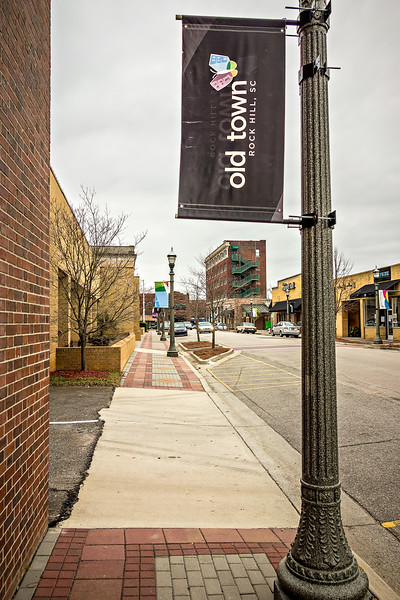 February 2017 Rock Hill USA - street scenes on a cloudy day around city of Rock Hill South carolina
