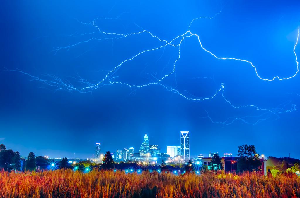 lightning thunder bolts over charlotte skyline