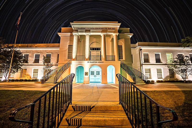 November 2016 town of Walterboro South carolina USA - Twon of walterboro courthouse at night with star trails in the background