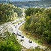 Aerial view of i-40 highway in north carolina from blue ridge parkway