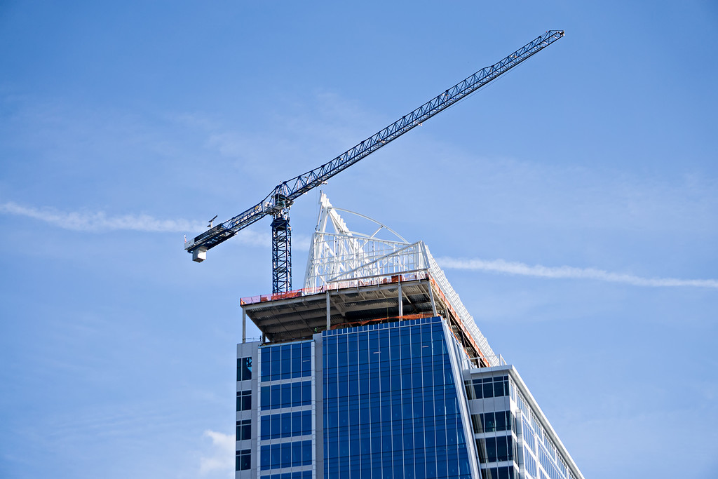 city skyscrapers under construction