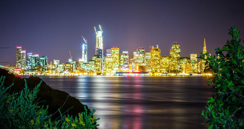 san francisco city downtown skyline from treasure island california