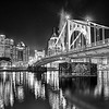 roberto clemente bridge and pittsburgh downtown