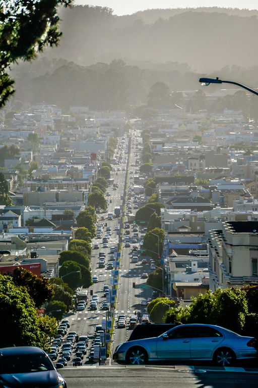 san francisco city neighborhoods and street views on sunny day