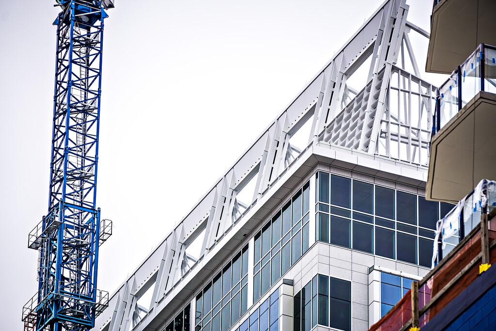 modern city buildings under construction or maintenance