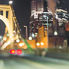 pittsburgh pennsylvania bridge at night with tilt effect blur