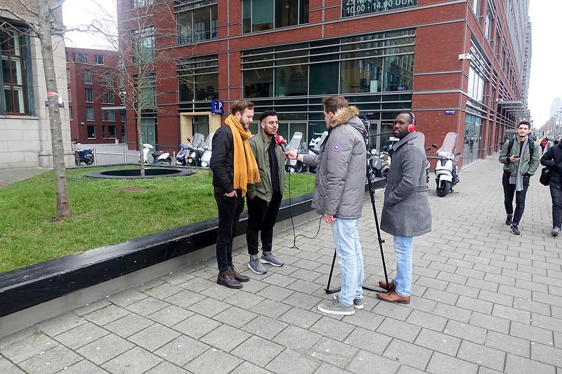 Nederland, Amsterdam, AT5 aan het werk in de Wibautstraat, , 31 januari 2017, foto: Katrien Mulder