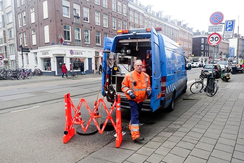 Nederland, Amsterdam, Waternet in de van Woustraat, 31 januari 2017, foto: Katrien Mulder