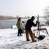 Nederland, Amsterdam, Amsterdam Oost, landschapsschilder in de sneeuw, 12 februari 2017, foto: Katrien Mulder