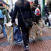 Nederland, Amsterdam, Spaanse vrouwen hebben zojuist hun slag geslagen bij de onbegrijpelijk goedkope modeketen en tevens toeristische attractie  Primark, niet tegengehouden door de negatieve berichten over het personeelsbeleid, 27 februari 2017, foto: Katrien Mulder