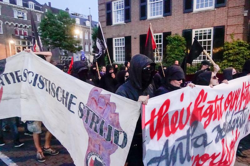 Nederland, Amsterdam, 17 augusttus 2017,  demonstratie georganiseerd door AFA, naar aanleiding van de  aanslag in Charottesville, foto: Katrien Mulder