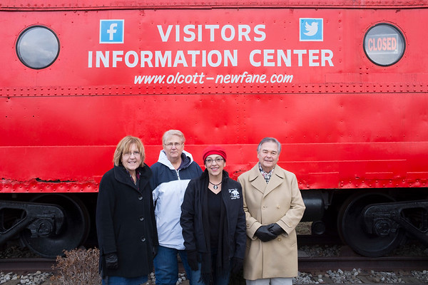 "Joed Viera/Staff Photographer-Olcott ,NY-Newfane 365 organizers Ann Schulze, Barb Miller, Gina Guido-Redden and  Jim Sansone stop by outside the visitors center located inside their ""Caboose""."