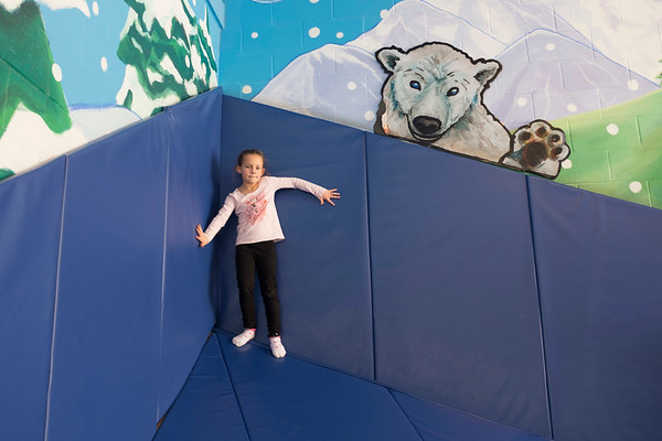 Joed Viera/Staff Photographer-Abigail Tubiolo, 6, plays inside the Williamsville YMCA's Adventure Center.