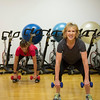 Joed Viera/Staff Photgrapher-Lockport, NY-YMCA fitness instructor Jeannine Mullett, right, and Mary Ann Scales squat.