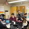 Joed Viera/Staff Photographer-Lockport, NY-Lockport High School teacher Joseph Spero works with senior Alanna Atkin, 17, on her essay during a Non-fiction writing class earning Atkin SUNY college credits.