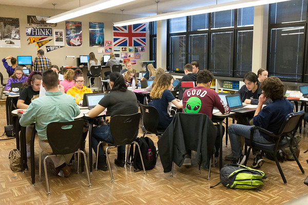 Joed Viera/Staff Photographer-Lockport, NY-Lockport High School teacher Joseph Spero's Non-fiction writing class earns students SUNY college credits.