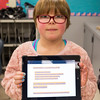 Joed Viera/Staff Photographer-Lockport, NY-Kyleen Mendetta, 8,  holds up her a journal entry about Martin Luther King Jr. to her classmates at George Southard Elementary School