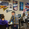 Joed Viera/Staff Photographer-Lockport, NY-Lockport High School teacher Joseph Spero works with senior Ariel Davis, 17, on her essay during a Non-fiction writing class earning her SUNY college credits.