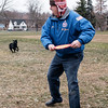 Joed Viera/Staff Photographer-John Briggs plays catch with Maverick at Dolan Park. Briggs takes out the black labrador everyday weather permitting.