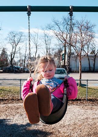 JOED VIERA/STAFF PHOTOGRAPHER-Lockport, NY-Makayla Klumpp, 4, swings at Altro Park.