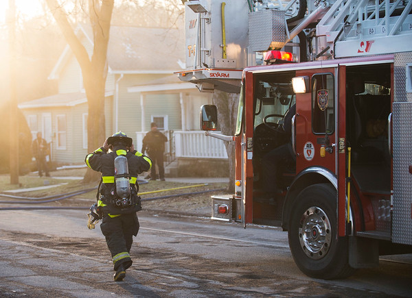 Joed Viera/Staff Photographer- Lockport, NY- City firefighters arrive to the scene of a fire on 67 Olcott Street.
