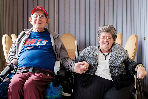 JOED VIERA/STAFF PHOTOGRAPHER-Gasport, NY-John Cull and Nancy Laforme laugh after talking about their plans for their Valentine's Day marraige at Absolute Care.