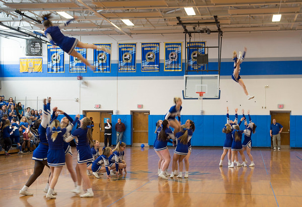 JOED VIERA/STAFF PHOTOGRAPHER-Buffalo, NY-Newfane High School's cheerleading squad performs at the school's pep rally.