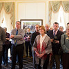 Joed Viera/Staff Photographer- Lockport, NY-The crowd listens to essays about how the Kenan Center is the heart of the community during the celebration at the Kenan House Gallery.