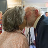 JOED VIERA/STAFF PHOTOGRAPHER- Lockport, NY-Kay, 85, and Bob Schmidt, 86, kiss after renewing their vows at Woodlands. The Schmidts have been married for 64 years and were joined by 6 couples in the vow renewal ceremony. Terry and Richard Baird, Kirk and Ruby Beck,  Richard and Susan Fischer Galligan, Larry and Allie Morrow, Robert and Judy Reynolds and Doug and Marie Rorick.