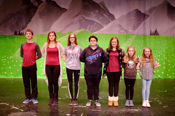 JOED VIERA/STAFF PHOTOGRAPHER-Newfane, NY-Zach Niver, 14, Liv Mazanka, 13, Grace Dixon, 16, Anthony Chavers, 14, Charley Buscaglia, 12, Cameron Stopa, 10, and Annabella Call, 10, rehearse for the Newfane High School production of the Sound of Music as Fredrick, Luisa, Liesl, Kurt, Brigitta, Marta, Gretl Von Tropp