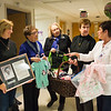 Joed Viera/Staff Photographer- Lockport, NY-Krista Isherwood, Lorraine Sparks, Donna Kleinhans and Brenda Ulrich deliver newborn baby supplies to ENH OB manager Becky Kucharczak.