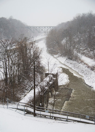 Joed Viera/Staff Photographer- Lockport, NY-The Upside-Down Bridge and Canal as seen through flakes of falling snow from the top of the Electric Building.