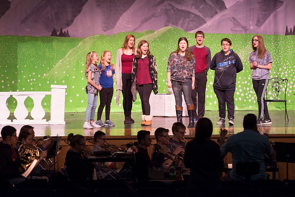 JOED VIERA/STAFF PHOTOGRAPHER-Newfane, NY-Actors and band members rehearse Newfane High School production of the Sound of Music.