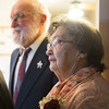 JOED VIERA/STAFF PHOTOGRAPHER- Lockport, NY-Kay, 85, and Bob Schmidt, 86, renew their vows at Woodlands after being married for 64 years. The pair joined by 6 couples in the vow renewal ceremony. Terry and Richard Baird, Kirk and Ruby Beck,  Richard and Susan Fischer Galligan, Larry and Allie Morrow, Robert and Judy Reynolds and Doug and Marie Rorick.